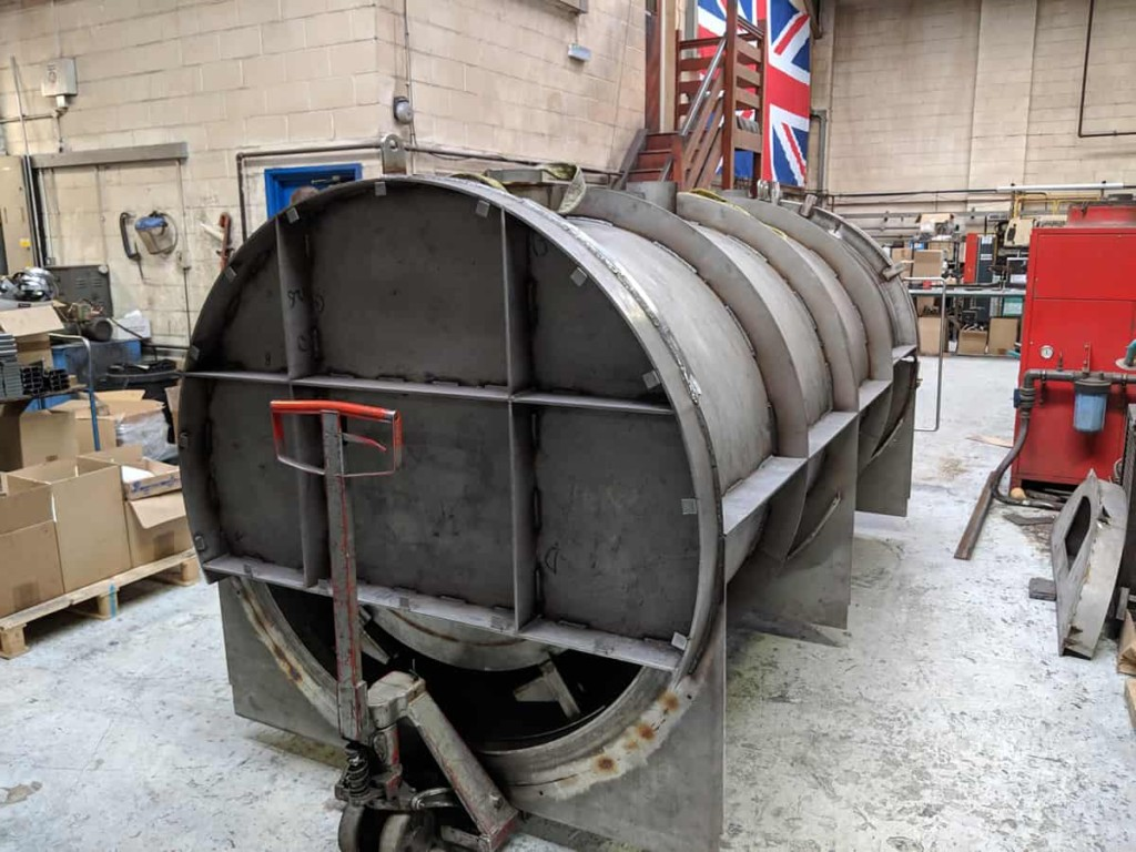 Charcoal burner retort - view from behind