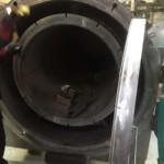 Charcoal Burner Retort - Front view with door open close up