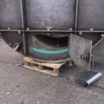 Charcoal Burner Retort - Close up of front door vent